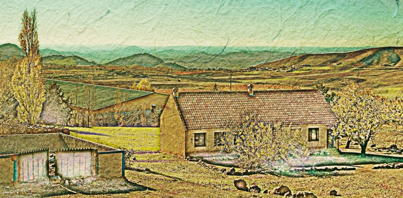 Used a sketch technique in Photoshop to create this version of a nice viewpoint near the Moroccan town of Azrou.