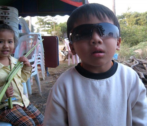 Young Lao boy with sunglasses