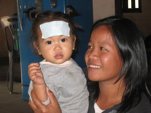 Lao baby with slight injury.