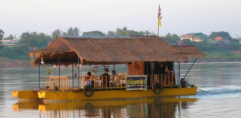 Taking a boat ride on the Mekong River