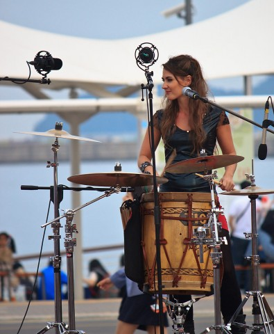 Las Folkies percussionist Martina Ulrich