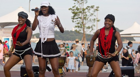 Angola singer and dancers