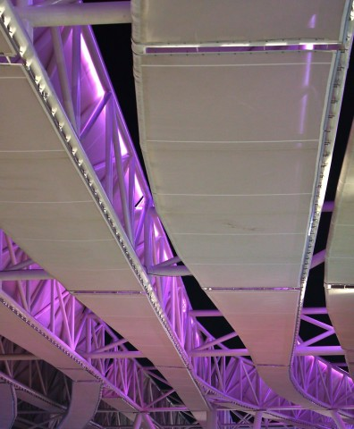Infrastructure of the International Pavilion at night