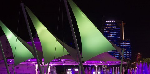 Exterior sail structure at night