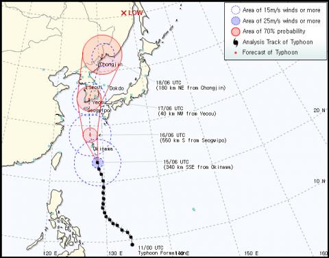 Path of Typhoon Sanba