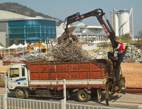 Truck hauling away the debris of Yeosu Expo