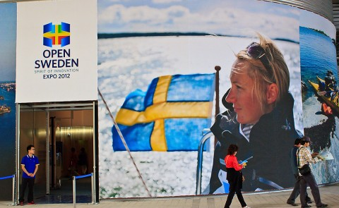 The exterior of the Sweden Pavilion