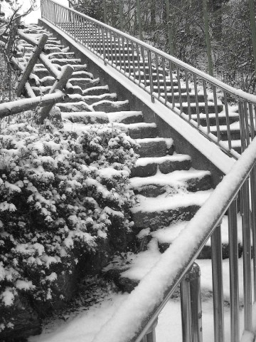 Steps covered in snow