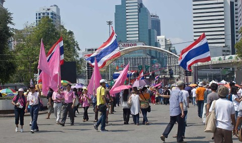 Protesters at Lumphini Park