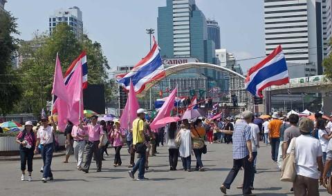 Protesters at Lumphini Park