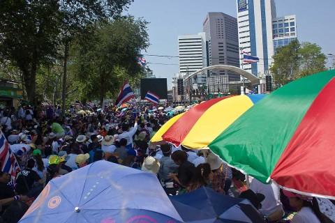 Protesters at Lumpini Park, Bangkok.