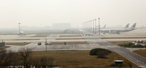 Smoggy Pudong Airport in Shanghai