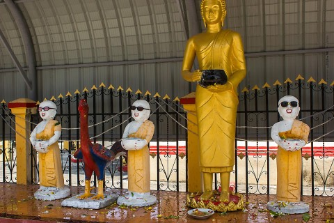 Statues wearing sunglasses