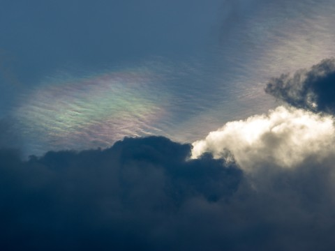 Iridescent cloud close up