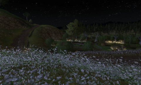 Frogmorton in the Shire at night from a nearby ridge.