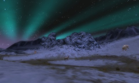 The far northern region of Forochel with the Aurora Borealis glowing brightly.