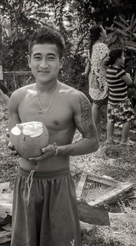 Sun gets a coconut.