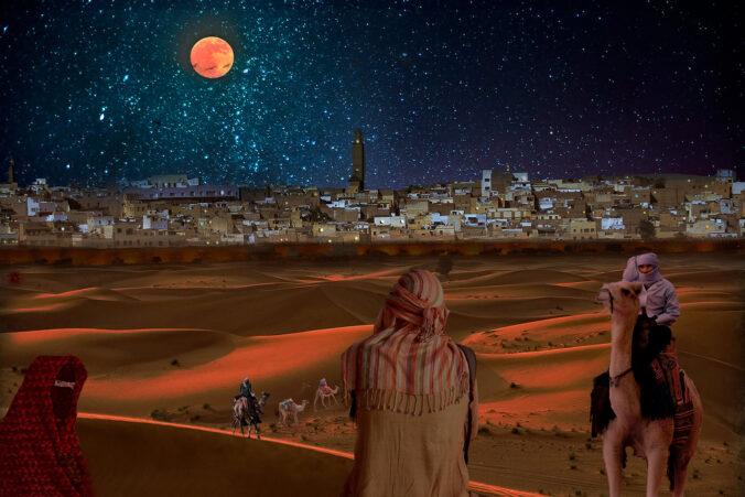 moonlit desert city